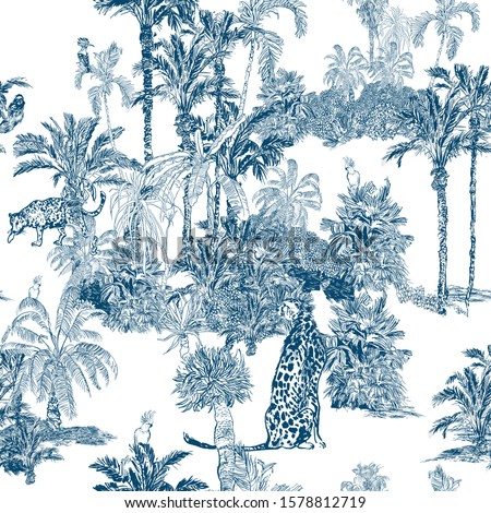 Seamless Pattern Cobalt blue Lithography Illustration Palm Trees, Tropical Jungle Forest, Exotic Animal Wildlife Leopard, Cheetah, Sloth, Parrots, Hoopoe, Hand drawn Outline Etching Drawing Vintage