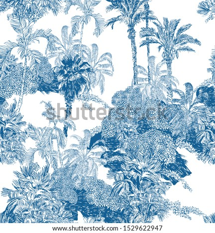 Seamless Pattern Cobalt Blue Vintage Outline Etching Graphics of Jungle Tropical Palms Rainforest Exotic Plants Mountains British Fabric Design on White Background