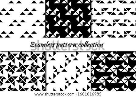 Seamless pattern collection. Geometrical design backgrounds set. Repeated triangles motif. Geo print kit. Minimal ornaments. Origami inspired wallpaper bundle. Vector abstract scrapbook digital paper