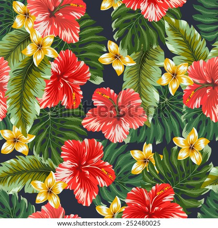 Seamless pattern Colorful hawaiian flowers on dark background.