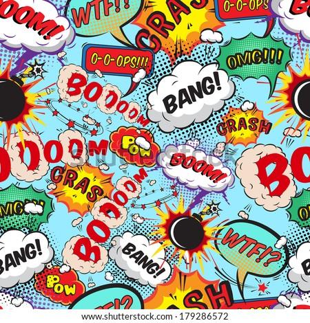 stock vector seamless pattern comic speech bubbles vector illustration 179286572 - Каталог — Фотообои «Для детской»
