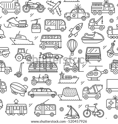 Seamless pattern composed of contour icon consisting of a variety of vehicles. On a white background.