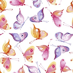 seamless pattern consisting of colorful butterflies, watercolor