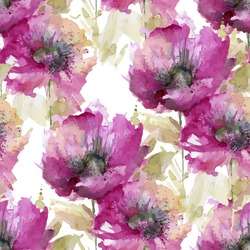 seamless pattern consisting of flowers poppies, watercolor