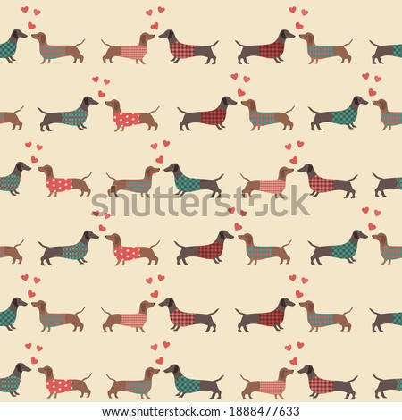 Seamless pattern couple of dressed  dachshunds  with red hearts. Love, Vector illustration.  Сток-фото ©