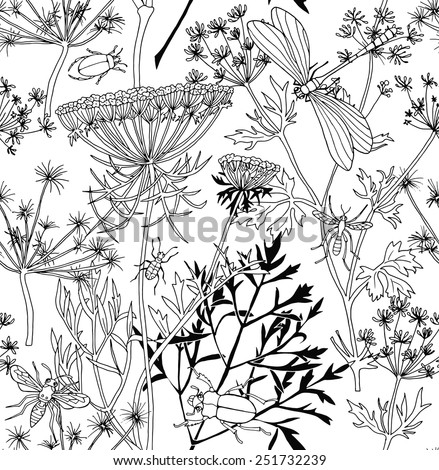 seamless pattern cow parsnip