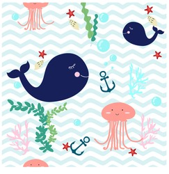 Seamless Pattern cute adorable beach funny theme, ocean blue whale,jelly fish, sea anchor, seaweed, wave, pastel colorful vector background illustration,hand draw doodle cartoon comic,for invitation card