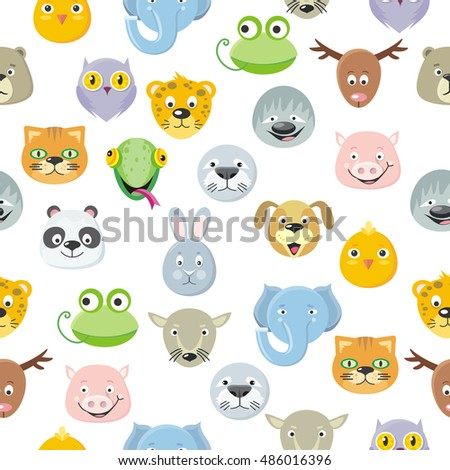 Seamless pattern cute animal faces heads set. Cartoon masks for masquerade, holiday, festival, halloween. Wallpaper design. Icons of forest characters. Isolated object in flat design. Vector