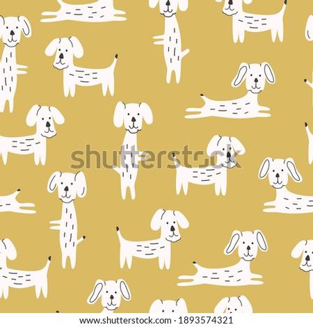 Seamless Pattern Cute Dogs Modern Design Vector Illustration Stock foto ©