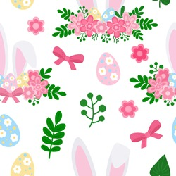 Seamless pattern Cute Easter bunny ears with flowers vector illustration. Rabbit face Easter eggs pink flowers leaves
