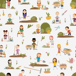 Seamless pattern. Cute girls and boys in various poses gardening plants, weed beds, watering seedlings, pruning bushes and trees, working in the garden. People and garden tools. Vector illustration