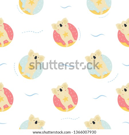 Seamless pattern Cute hand drawnrelaxing koals. For gift boxes, textures, apparels, prints