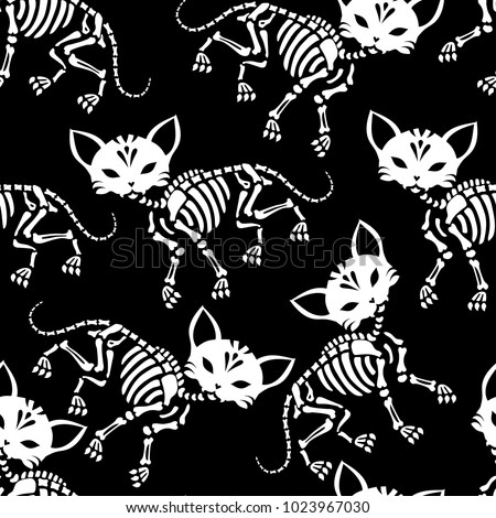 Seamless pattern. Cute skeletons of cats. Can be used for t-short print, poster or card. Ideal for Halloween, the Day of the Dead and more.
