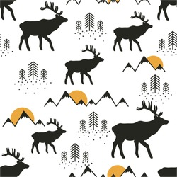 Seamless pattern, deers, mountains, fir-trees and sun, hand drawn overlapping backdrop. Black and white background vector. Illustration animals. Decorative wallpaper, good for printing