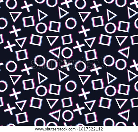 Seamless pattern.Design game play station 4 symbols icons playstation 5.Square, cross, circle, triangle on a dark background.