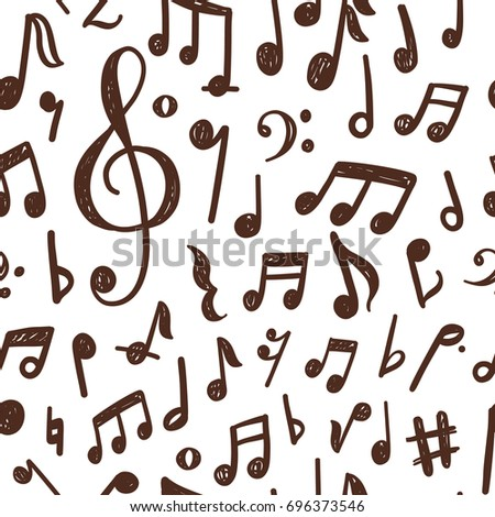 Seamless pattern design with hand drawn musical notes Foto stock ©