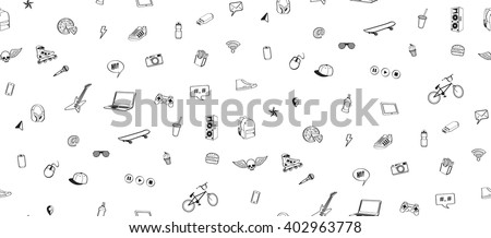 Seamless pattern. Doodles elements for  teenage boy. Monochrome hand drawn icons set sport, music, multimedia, delicious, food, shoes. Design for print on textile, wrapping paper,  Vector illustration