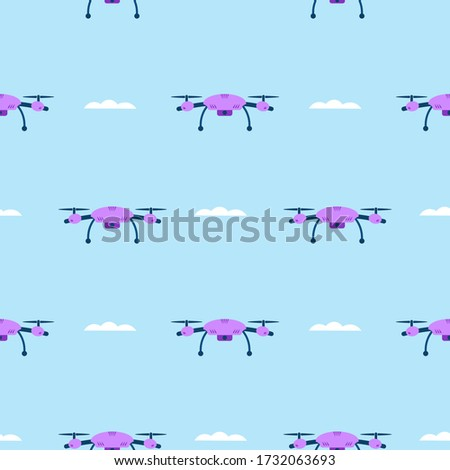 seamless pattern drones fly
