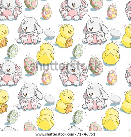 easter bunnies and eggs and chicks. Easter eggs, chicks and