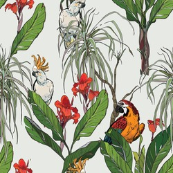 Seamless Pattern Exotic Tropical Forest Jungle with Wildlife Exotic Birds Hand Drawn Graphic Outline Ink Drawing with Parrots Cockatoo on Blue Background