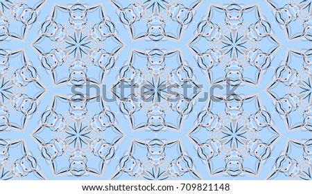 Seamless pattern. Fantastic snowflakes are located like bees' honeycombs. The abstract six-sided figures. For backgrounds, fabrics, holidays. Blue, and gray tones. #709821148