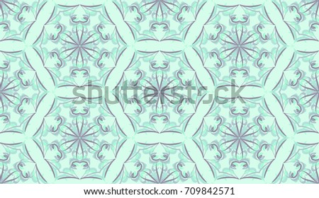 Seamless pattern. Fantastic snowflakes are located like bees' honeycombs. The abstract six-sided figures. For backgrounds, fabrics, holidays. Light green tones, gray  tones. #709842571