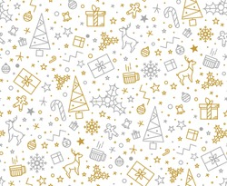 Seamless pattern for Christmas on a white background with gold elements Christmas. Beautiful pattern for a luxurious gift wrapping paper, t-shirts, greeting cards 2016