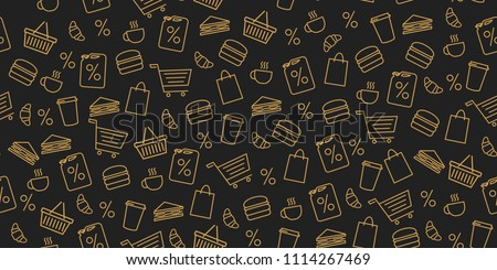seamless pattern for gas station store, linear objects and food on dark background