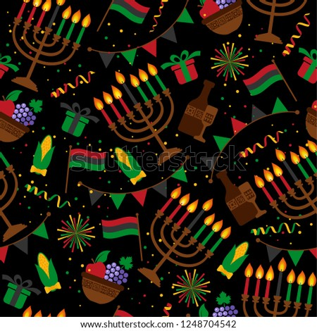 Seamless pattern for Kwanzaa with traditional colored and candles representing the Seven Principles or Nguzo Saba .
