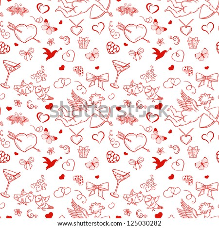 Seamless pattern for valentine's day with cupid coattail bow butterflies hearts pigeons etc