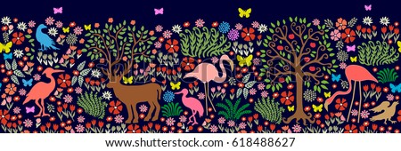 Seamless pattern for wall painting and frescos. Fantasy birds and animals in dark forest. Deeer, flamingos, herons, cranes, ducks, apple tree, blooming floral carpet.