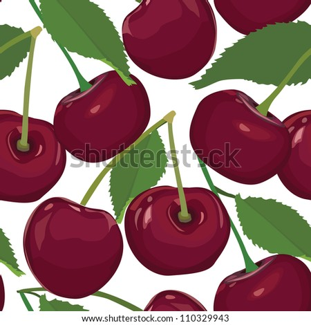 seamless pattern from cherry, ripe berry on white background