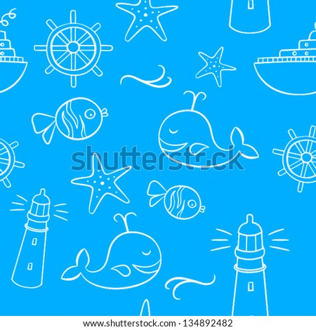Seamless Pattern From Cute Doodles Representing Sea, Holidays and Summer