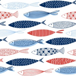 Seamless pattern from decorative fish.Vector