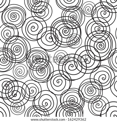 Seamless pattern from hand drawn black and white circles