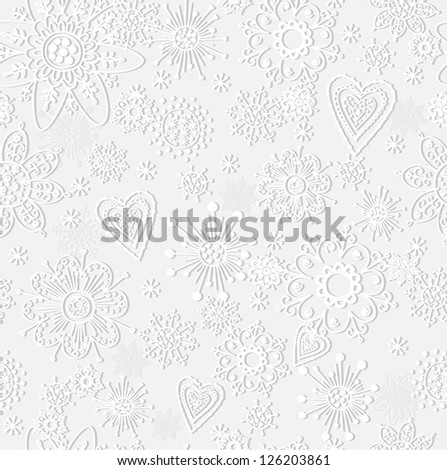 seamless pattern from paper snowflake - stock vector