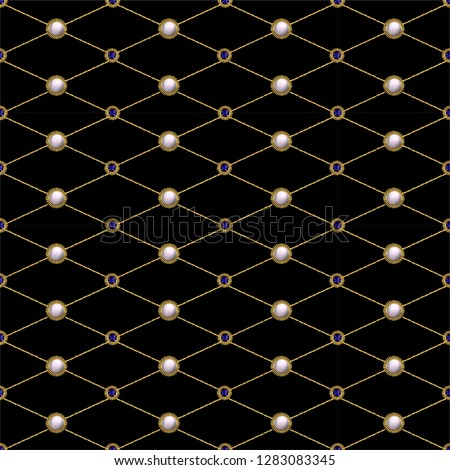 Seamless pattern from textile embroidered patches with sequins, beads and pearls.