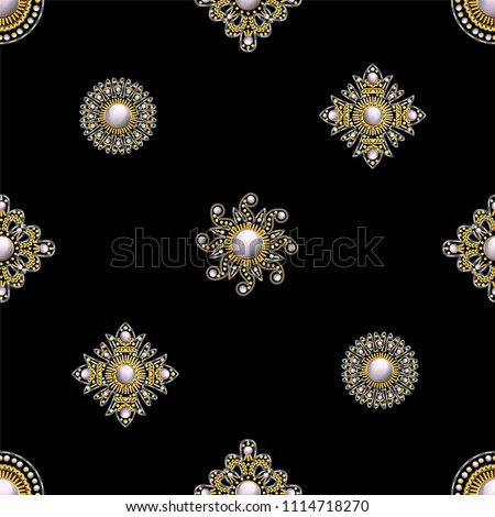Seamless pattern from textile embroidered patches with sequins, beads and pearls. Vector illustration.