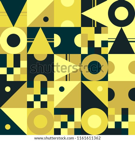 Seamless pattern, geometry shapes in black and yellow tones