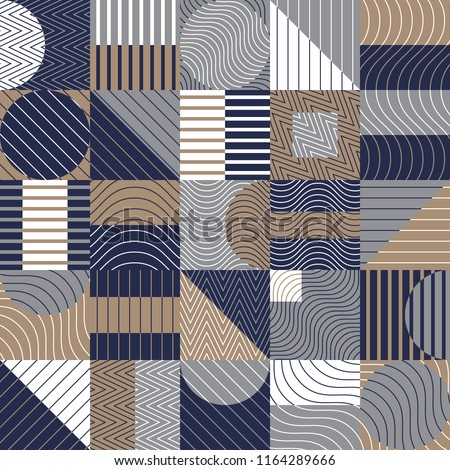 Seamless pattern, geometry shapes in cool blue and brown tones