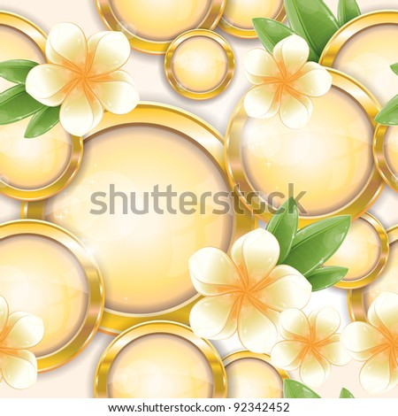 Seamless pattern - Gold circle frames with white frangipani flower, vector illustration, eps-10