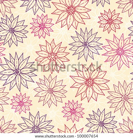 Seamless pattern graphic flowers. Vector background.