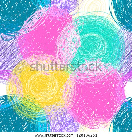 seamless pattern, hand drawn colorfull circles - stock vector