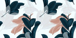 Seamless pattern, hand drawn dark green, brown and white guava leaf on sprig on grey background