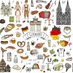 Seamless pattern hand drawn doodle set of Germany icons. Vector illustration set. Cartoon German landmark. Sketchy Europe travel elements collection: Sausage, Beer, Wheat bread, football, castle