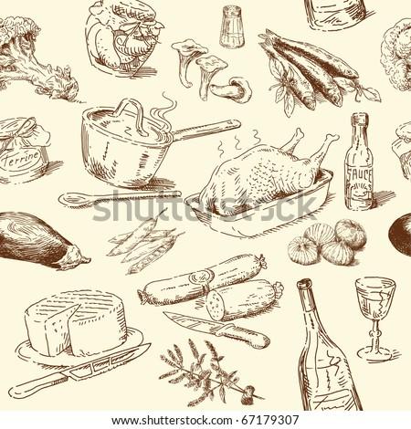 seamless pattern-hand drawn food
