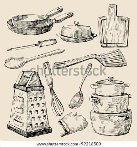 seamless pattern hand drawn kitchen - stock vector