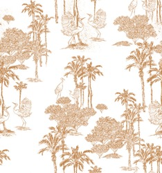 Seamless Pattern Hand Drawn Lithography Outline Illustration Retro Style Design  Dancing Cranes, Heron Birds in Jungle Forest, Wildlife Animals Brown on White Background, One Color Wallpaper Design