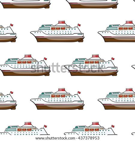 seamless pattern. Hand drawn water transpor. kids toy cruise ship