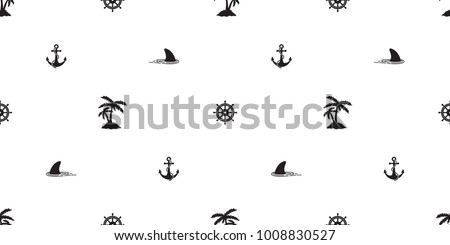 seamless pattern helm anchor shark vector coconut palm tree island nautical boat sea ocean isolated tropical wallpaper